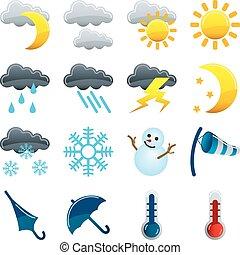 pogoda, komplet, ikony