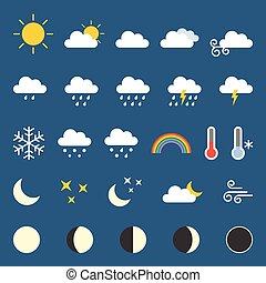 pogoda, płaski, zbiór, projektować, ikona