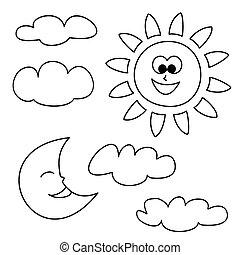 pogoda, wektor, chmury, słońce, księżyc