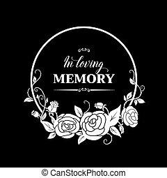 pogrzeb, karta, wektor, kwiaty, róża, wreath.