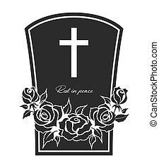 pogrzeb, karta, wektor, nagrobek, róża, kwiaty