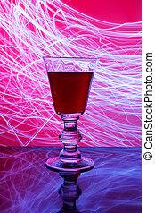 pohár bor, és, elvont, fény