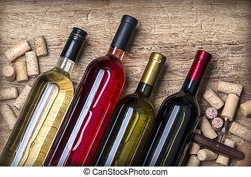 pohár bor, palack, bedugaszol
