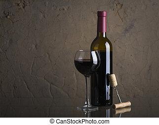 pohár, bor., piros, öntés