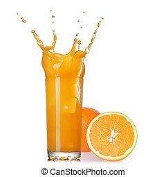 pohár, elszigetelt, lé, loccsanás, narancs, fehér