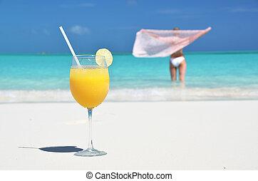 pohár, exuma, bahamas, lé, narancs, tengerpart, homokos