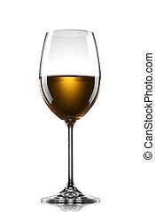 pohár, fehér, elszigetelt, bor