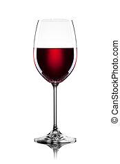 pohár, fehér, elszigetelt, vörös bor