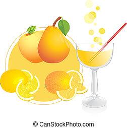 pohár, gyümölcs, lé