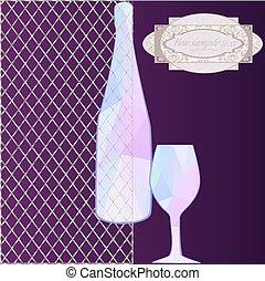 pohár, háttér, palack, poligon