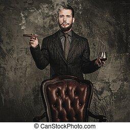 pohár, jelentékeny, szivar, well-dressed, ital