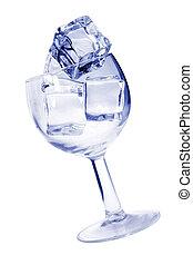 pohár, közül, jég