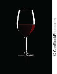 pohár, közül, piros, bor., vektor, illustra