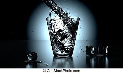 pohár, közül, tiszta víz, closeup