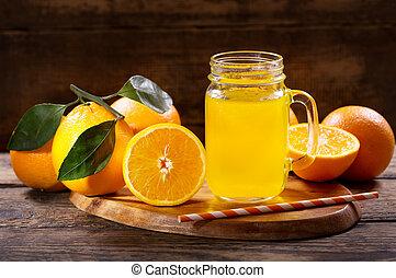 pohár meglök, lé, gyümölcs, narancs, friss