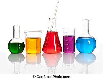 pohár, palackok, liqiuds, csoport, színezett