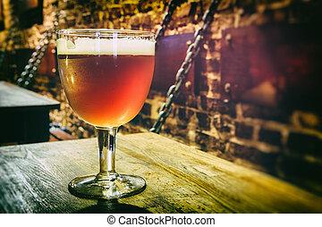 pohár, sör, friss