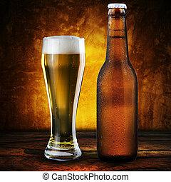 pohár, sör, hideg, palack
