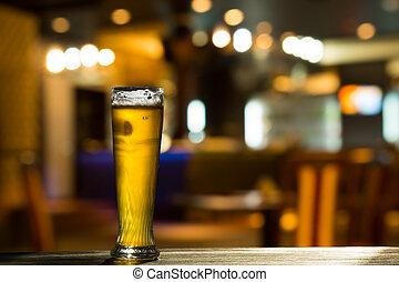 pohár, sör, pult, bár
