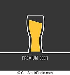 pohár, sör, sárga, folyékony
