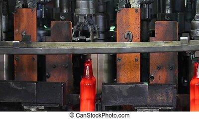 pohár, termelés, palack, plant., beer.
