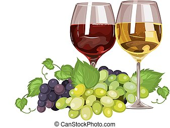 pohár, vektor, bor, grapes.