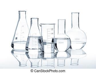 pohár, világos, öt, palackok, folyékony