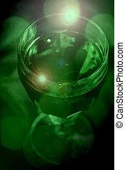 pohár, zöld, talpas pohár, liquid.