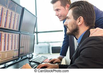 pohled, obchodník, screens., počítač, kmen