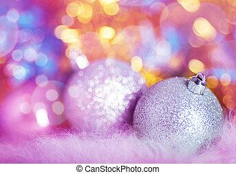 pohled, s, stříbrný, vánoce, kule, dále, barvitý, grafické pozadí