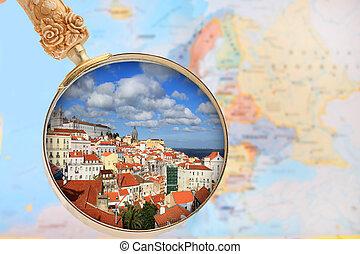 pohled za, dále, lisabon, portugalsko