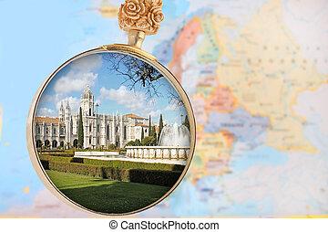 pohled za, jeronimos, klášter