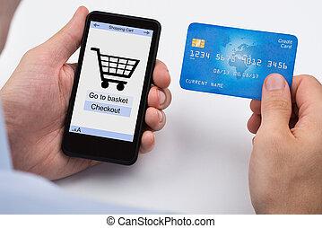 pohyblivý telefonovat, stav připojení shopping, osoba