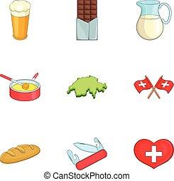 pohybovat se, švýcarsko, symbol, ikona, dát, karikatura, móda