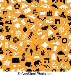 pohybovat se, a, dovolená, big, dát, o, vektor, barva, ikona, seamless, model, eps10