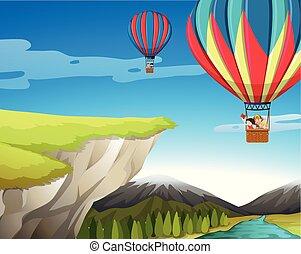 pohybovat se, do, vzrušit se stavět na odiv balón