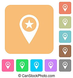POI GPS map location rounded square flat icons