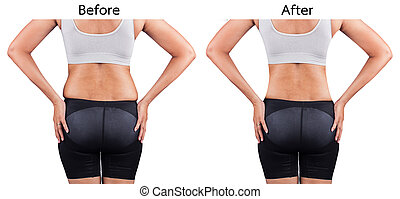 poids, avant, arrière, femmes, graisse, perte, après