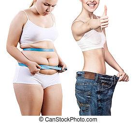 poids, avant, loss., après, femme, corps
