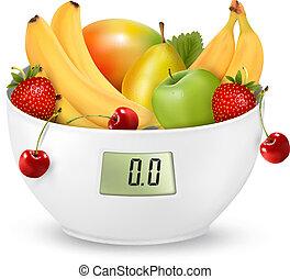 poids, concept., régime, fruit, vector., numérique, scale.