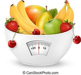 poids, concept., régime, fruit, vector., scale.