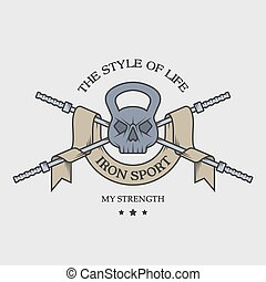 poids, crâne, emblem.