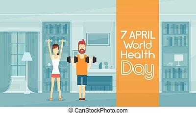 poids, exercice, sport, séance entraînement, homme, fitness, levage, intérieur, maison