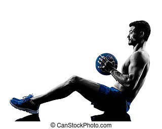 poids, homme, silhouette, exercisme, fitness