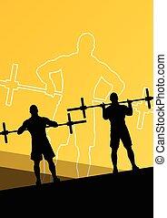 poids, hommes, sport, crossfit, levage