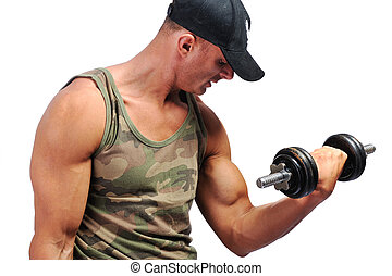 poids, musculaire, levage, homme