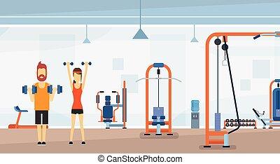 poids, séance entraînement, exercice, fitness, intérieur, sport, gymnase, levage, homme