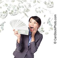 poignée, argent, femme, regard, business