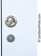poignée, clef porte, peau, blanc, acier, serrure