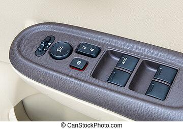 poignée, fenetres, voiture, ajustements, commandes,  détails, intérieur, porte